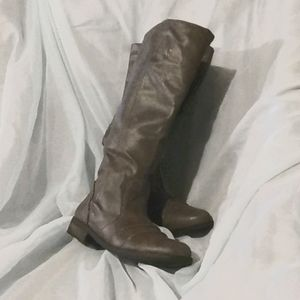 Tall distressed grey riding boots Size 6.5M